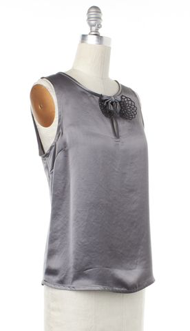 MARC BY MARC JACOBS Gray Bow Embellished Sleeveless Top