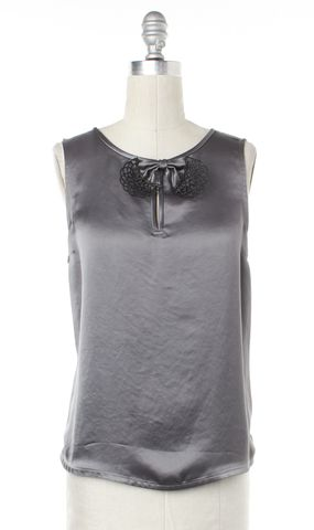 MARC BY MARC JACOBS Gray Bow Embellished Sleeveless Top Size S