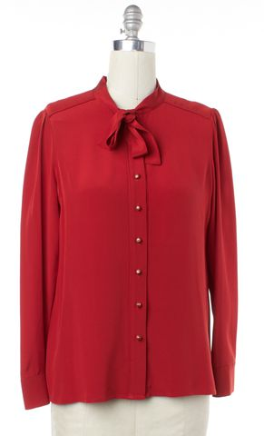 MARC BY MARC JACOBS Red Silk Button Down Shirt Size 10