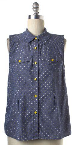 MARC BY MARC JACOBS Blue Neon Yellow Polka Dot Button Down Shirt