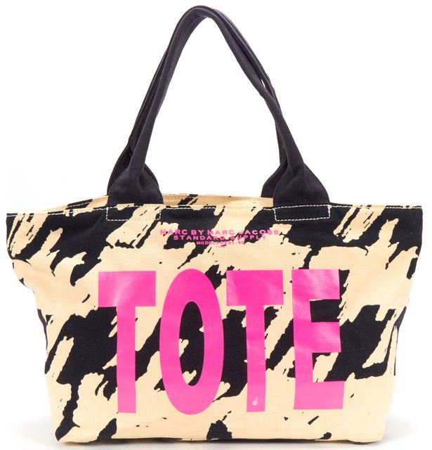 MARC BY MARC JACOBS Ivory Black Hot Pink Print Canvas Tote Bag