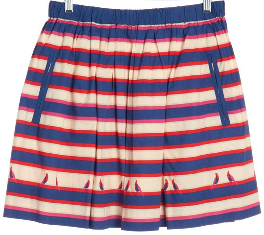 MARC BY MARC JACOBS Blue Multi Color Bird Print Striped Pleated Skirt