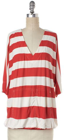 MARC BY MARC JACOBS Red White Striped Sweatshirt Top