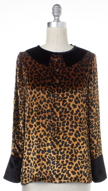 MARC BY MARC JACOBS Brown Gold Black Animal Print Casual Velvet Blouse Top