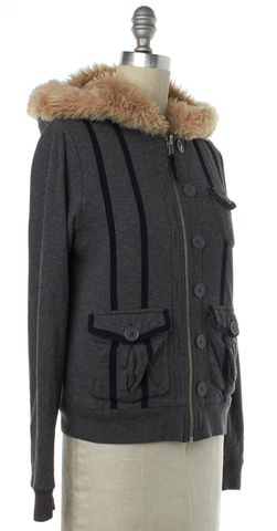 MARC BY MARC JACOBS Gray Fleece Lined Faux Fur Hooded Jacket Size S