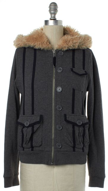 MARC BY MARC JACOBS Gray Fleece Lined Faux Fur Hooded Jacket