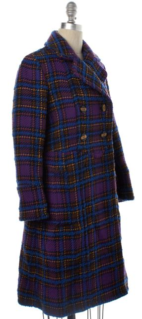 MARC BY MARC JACOBS Purple Plaids Wool Trench Coat