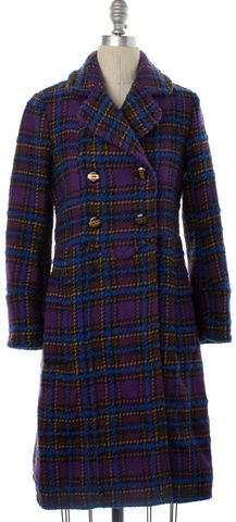 MARC BY MARC JACOBS Purple Plaids Wool Trench Coat Size XS