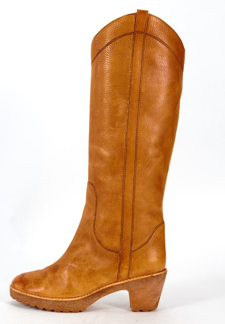 MARC BY MARC JACOBS Tan Brown Leather Gum Bottom Knee High Tall Boots