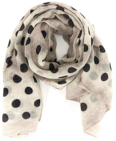 MARC BY MARC JACOBS Beige Black Polka Dot Scarf