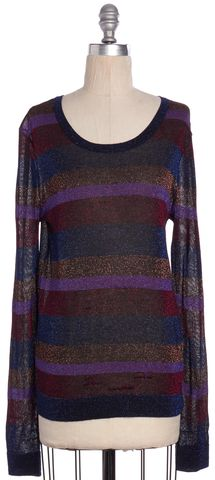 MARC BY MARC JACOBS Purple Bronze Multi Striped Knit Top Size S