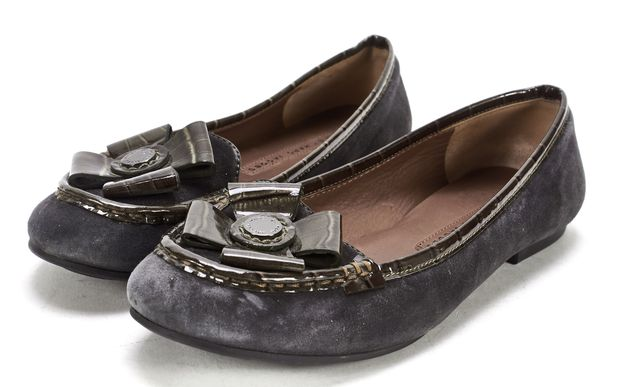 MARC BY MARC JACOBS Blue Suede Croc Embossed Patent Leather Flats