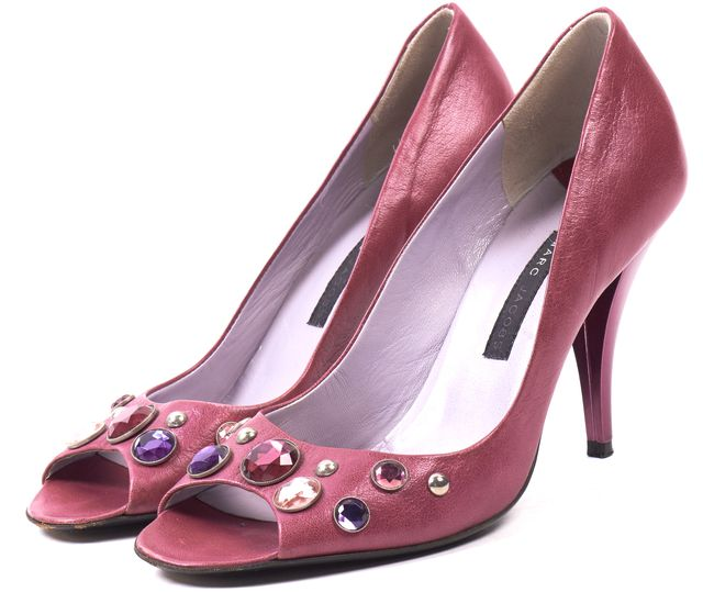 MARC BY MARC JACOBS Purple Embellished Leather Open Toe Pump Heels