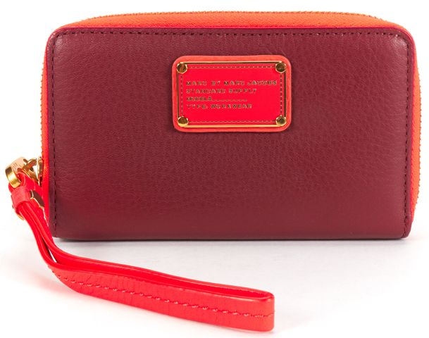 MARC BY MARC JACOBS Authentic Red Pink Pebbled Leather Wristlet Wallet