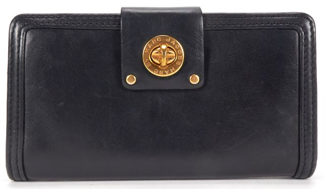 MARC BY MARC JACOBS Authentic Black Leather Turnlock Long Bi Fold Wallet