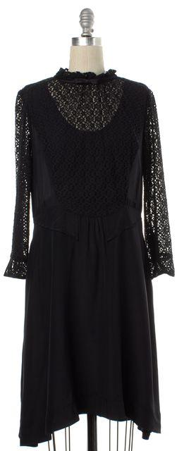 MARC BY MARC JACOBS Black Lace Silk Long Sleeve Sheath Dress