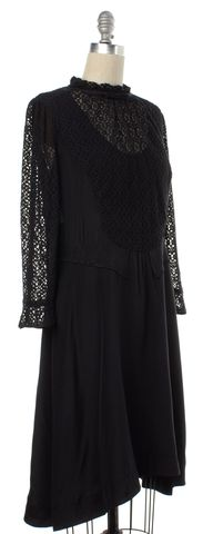 MARC BY MARC JACOBS Black Lace Silk Long Sleeve Sheath Dress