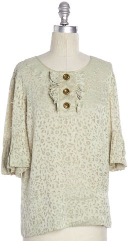 MARC BY MARC JACOBS Green Floral Pattern Ruffled Blouse Size XS