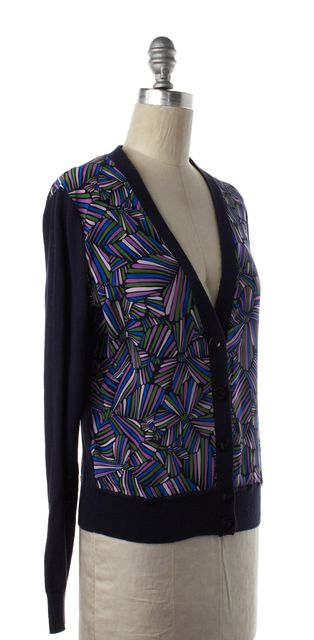 MARC BY MARC JACOBS Blue Multi Color Cotton Silk Cardigan Sweater