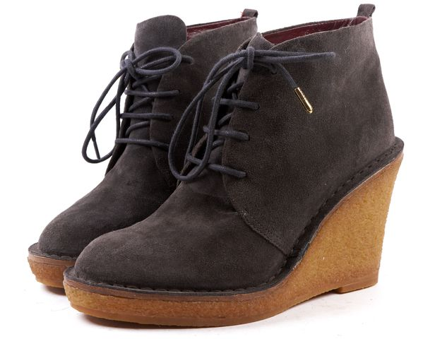 MARC BY MARC JACOBS Gray Suede Lace Up Crepe Sole Ankle Boot Wedges