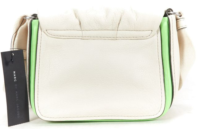 MARC BY MARC JACOBS White Leather Fabric Strap Crossbody