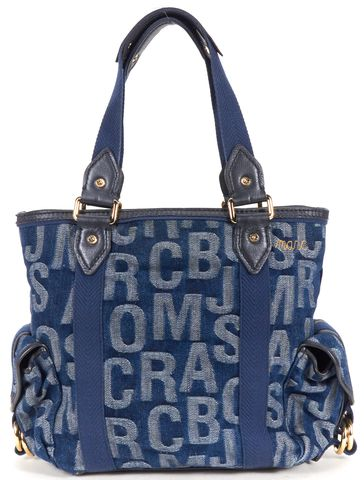 MARC BY MARC JACOBS Blue Monogram Denim Tote Bag