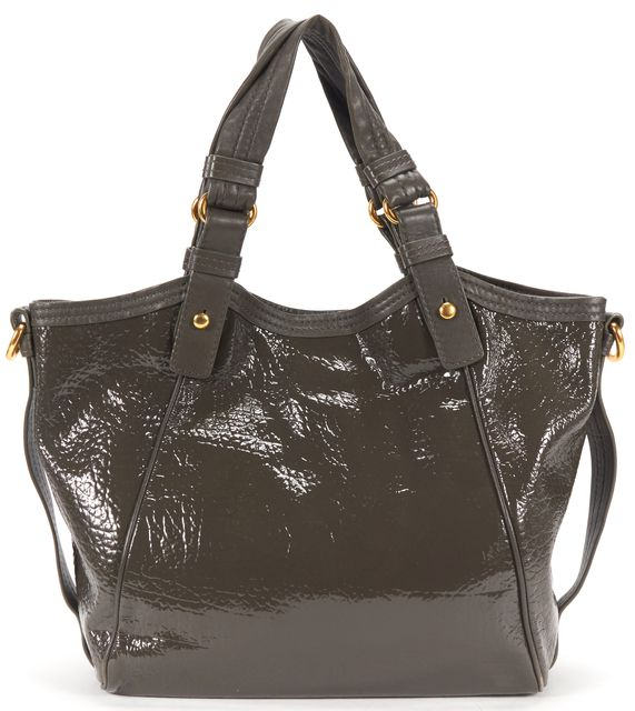 MARC BY MARC JACOBS Taupe Texture Patent Leather Gold Turn Lock Tote Bag