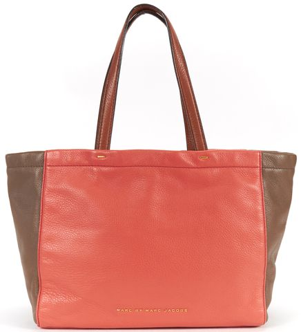 MARC BY MARC JACOBS Brown Coral Pink Color Block Pebbled Leather Tote Bag