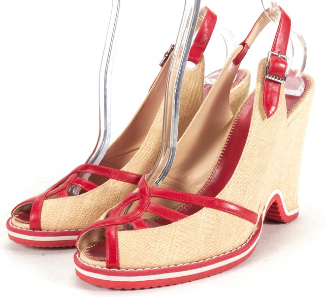 MARC BY MARC JACOBS Beige Red Canvas Leather Sling Back Wedges