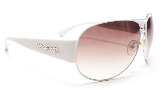 MARC BY MARC JACOBS White Brown Gradient Lens Aviator Sunglasses