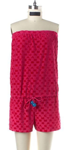 MARC BY MARC JACOBS SWIMWEAR Pink Velvet Logo Drawstring Strapless Romper