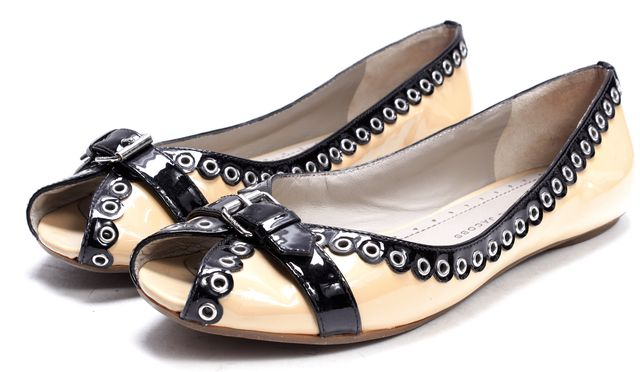 MARC BY MARC JACOBS Beige Black Perforated Patent Leather Flats