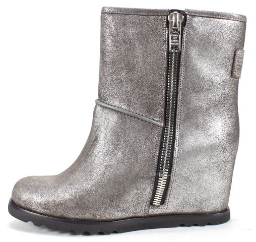 MARC BY MARC JACOBS Silver Faux Shearling Concealed Wedge Ankle Boot