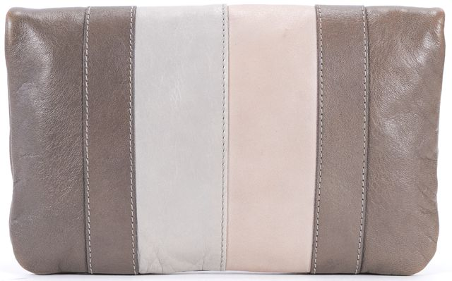 MARC BY MARC JACOBS Taupe Gray Pink Leather Fold Over Clutch