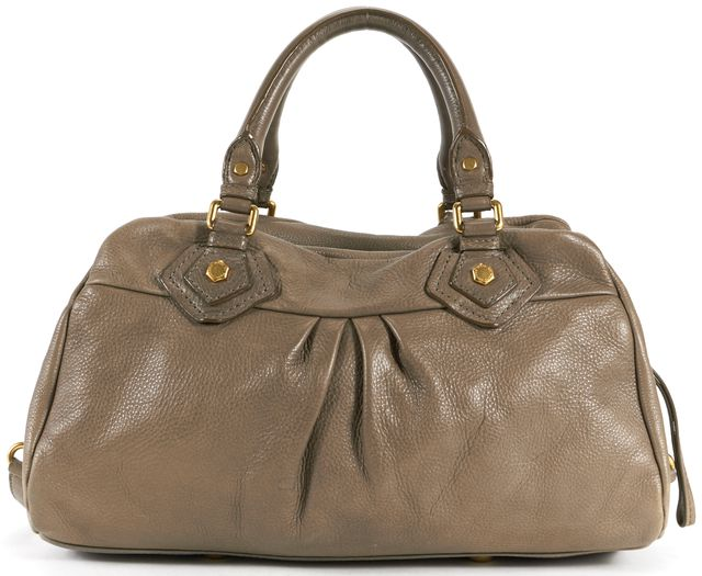 MARC BY MARC JACOBS Taupe Brown Leather Gold Tone Satchel Bag