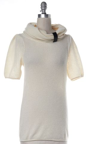 MARC BY MARC JACOBS Ivory Wool Open Knit Cowl Neck Sweater