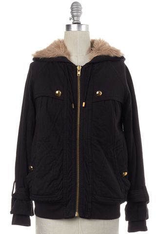 MARC BY MARC JACOBS Black Zip Up Faux Fur Lined Hooded Jacket