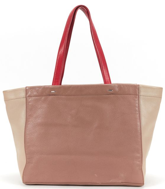 MARC BY MARC JACOBS Brown Beige Color block Pebbled Leather Tote Bag