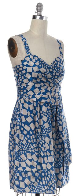 MARC BY MARC JACOBS Blue Geometric Print Silk Fit & Flare Dress
