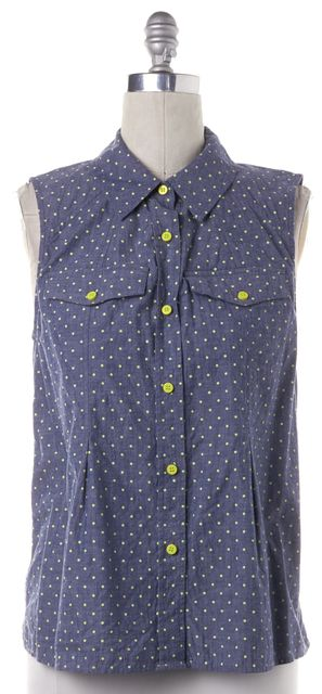MARC BY MARC JACOBS Blue Yellow Denim Polka Dot Sleeveless Top