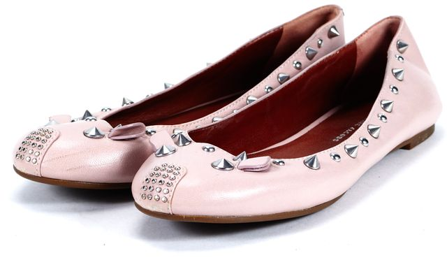 MARC BY MARC JACOBS Pink Leather Studded Mouse Ballet Flats