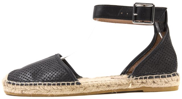 MARC BY MARC JACOBS Black Perforated Leather Ankle Strap Espadrille Flats