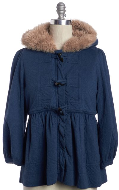 MARC BY MARC JACOBS Blue Basic Hooded Toggle Faux Fur Lined Coat Jacket