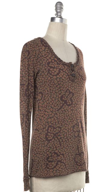 MARC BY MARC JACOBS Brown Floral Ruffle Trim Long Sleeve Knit Top