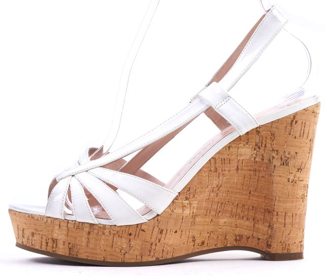 MARC BY MARC JACOBS White Patent Leather Sandal Cork Wedges