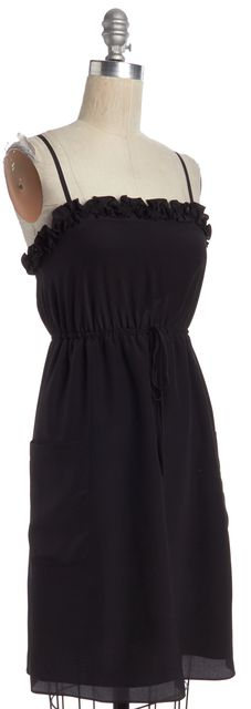 MARC BY MARC JACOBS Black Drawstring Ruffle Trim Pocket Front Silk Dress