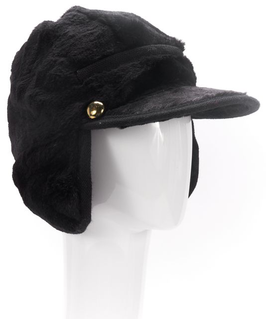 MARC BY MARC JACOBS Black Rabbit Fur Trapper Hat One Size