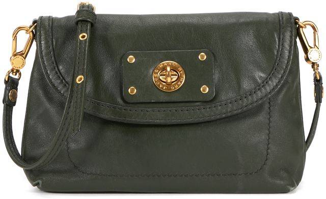 MARC BY MARC JACOBS Forrest Green Leather Gold Hardware Small Crossbody Bag