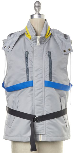 MARC BY MARC JACOBS Gray Blue Yellow Zip-Up Hooded Vest Jacket