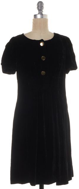 MARC BY MARC JACOBS Black Gold Velvet Front Button Babydoll Dress